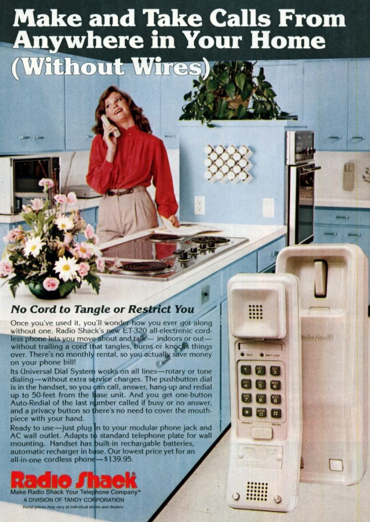 Radio Shack cordless phone in 1982