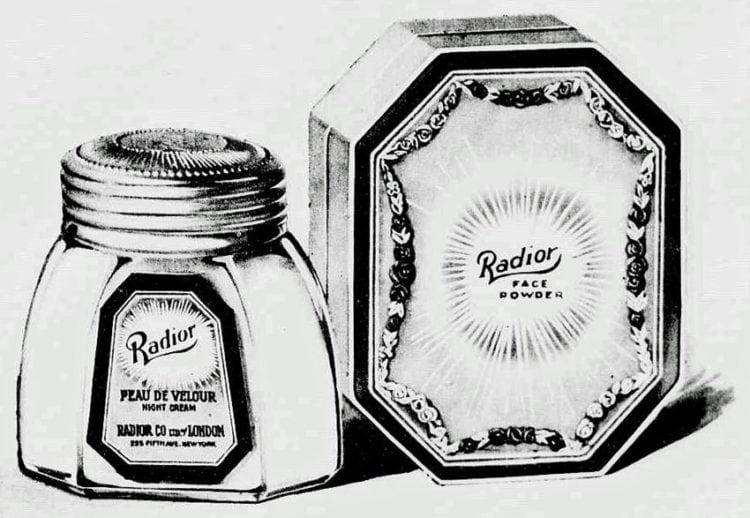 Radium-infused vanishing cream and face powder (1919)