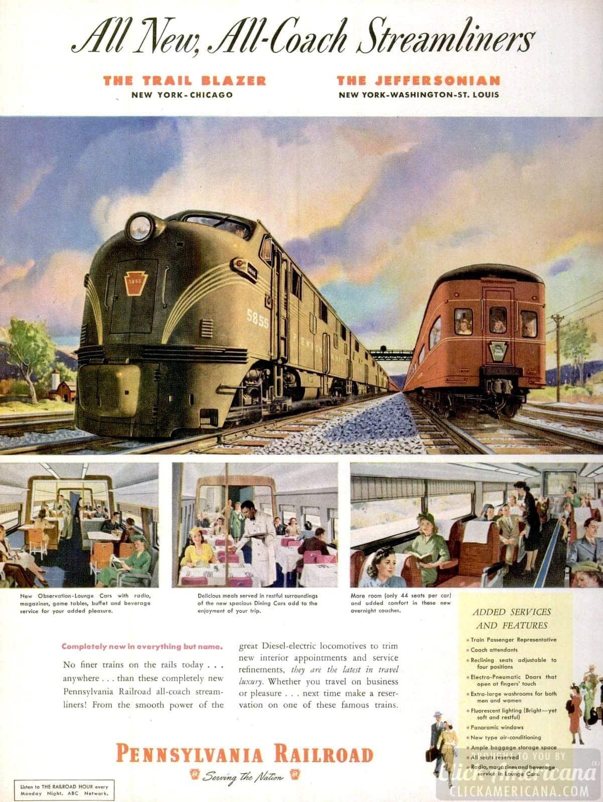 Railroads of 1949 - New all-coach streamliner trains