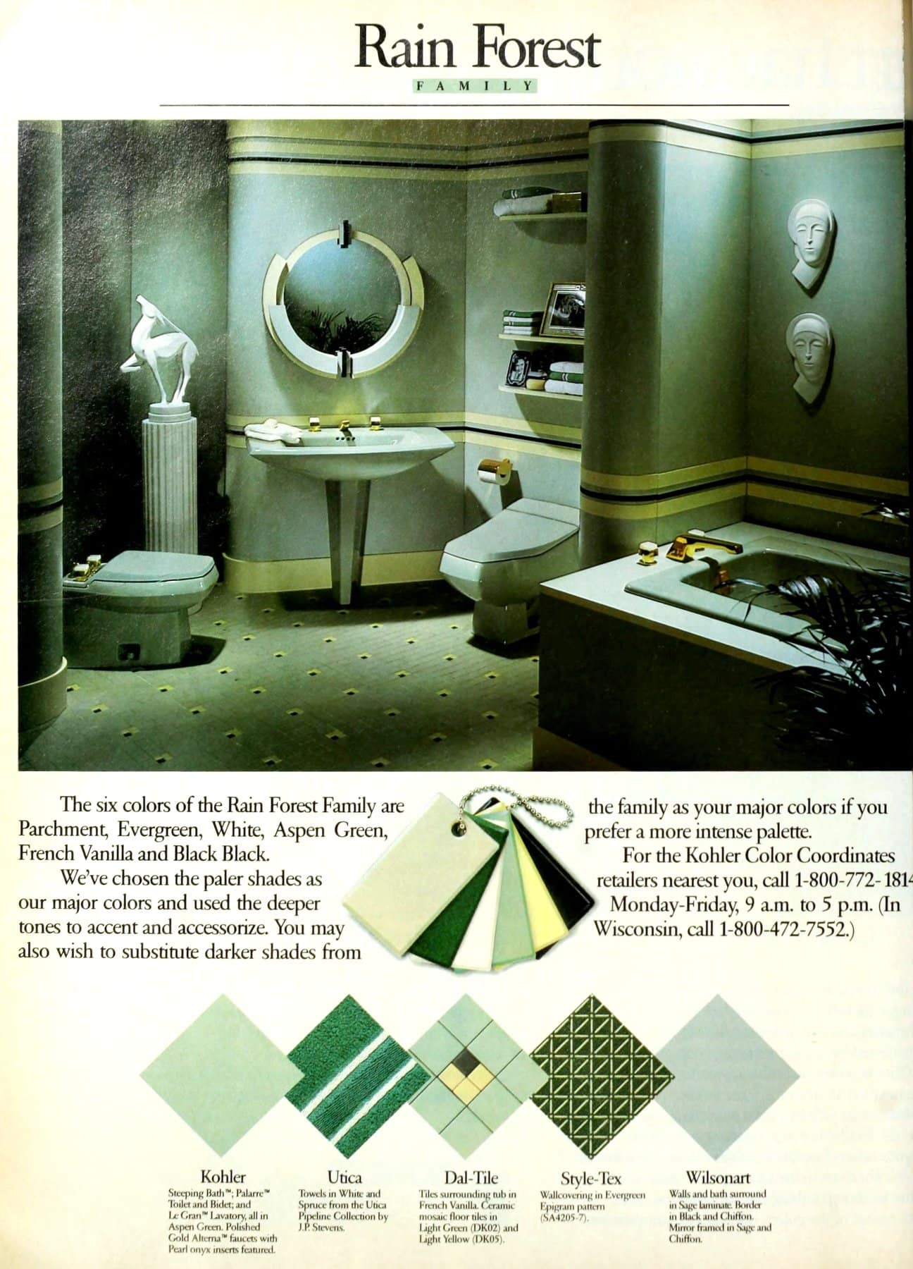 Rain Forest family color bathroom decor scheme (1986)