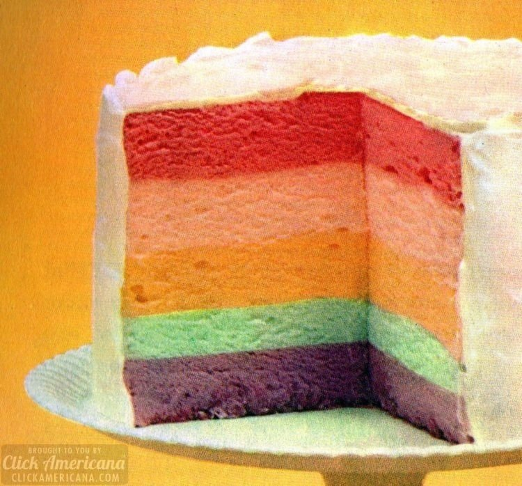 Rainbow cake of whipped Jello Five layers of fluffy flavors make one impressive-looking dessert (1962)