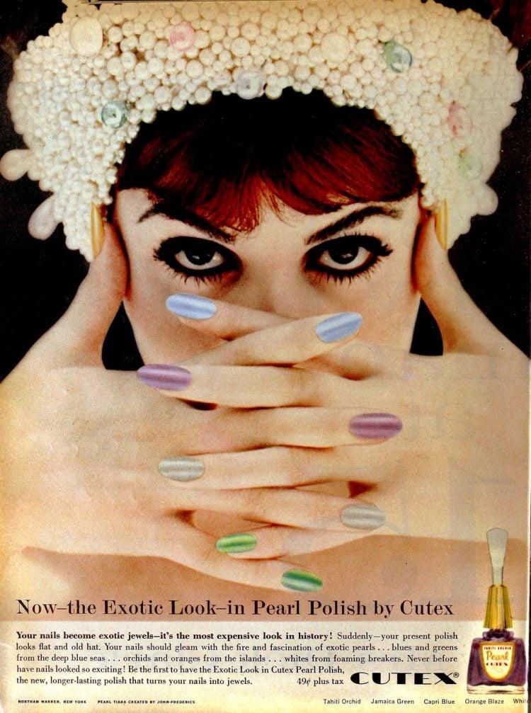 Rainbow nail polish shades from 1958