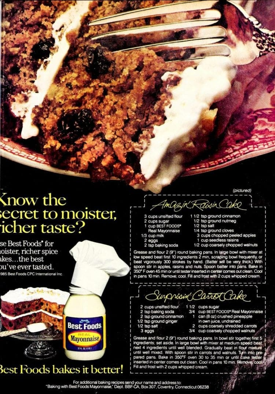 Amazin' Raisin Cake Recipe & Surprisin' Carrot Cake recipe (1985)
