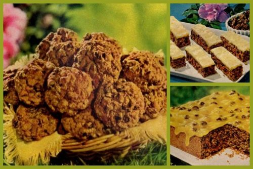 Raisin-date desserts Cake, sticks drop cookies (1962)