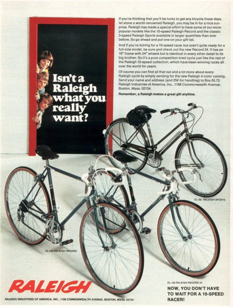 Raleigh 10-speed bikes from 1972