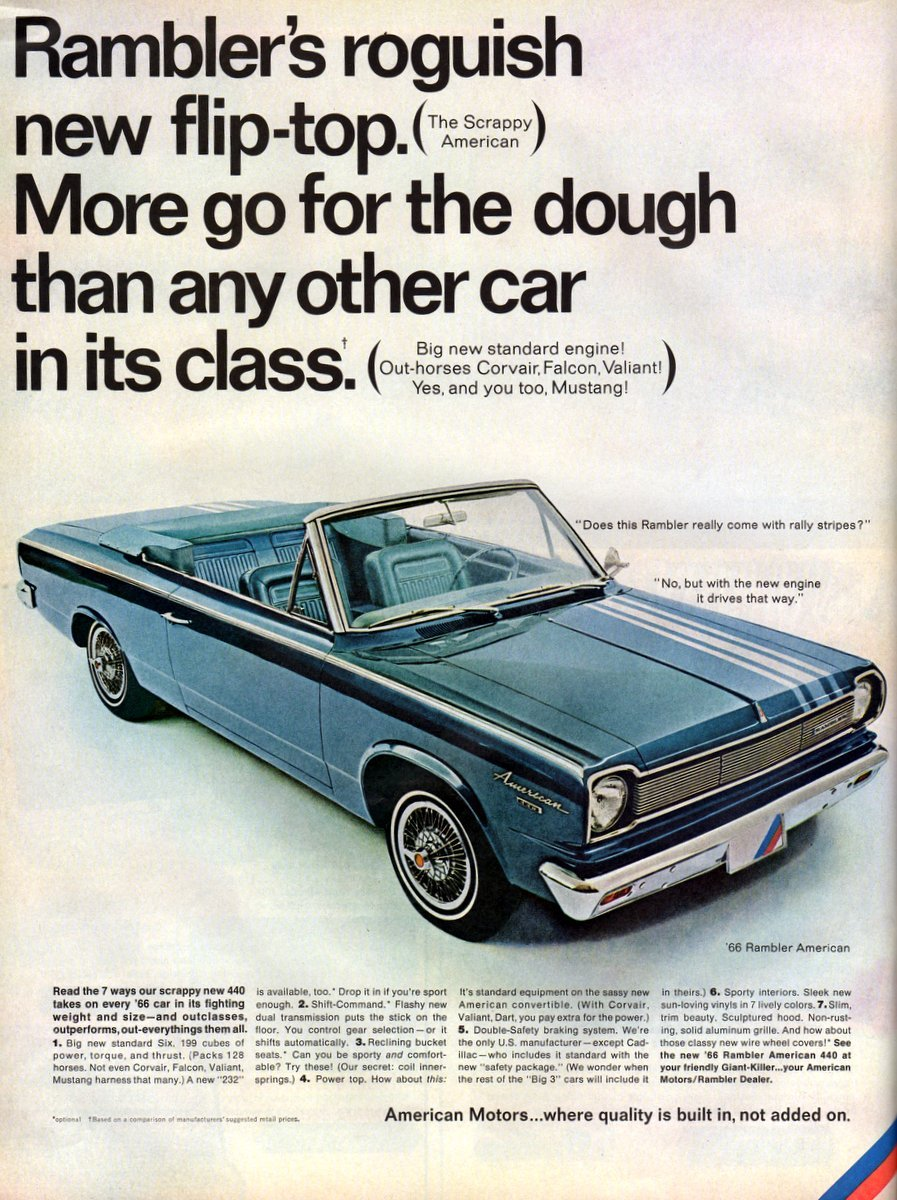 Rambler's roguish new flip-top convertible car 1965 1966
