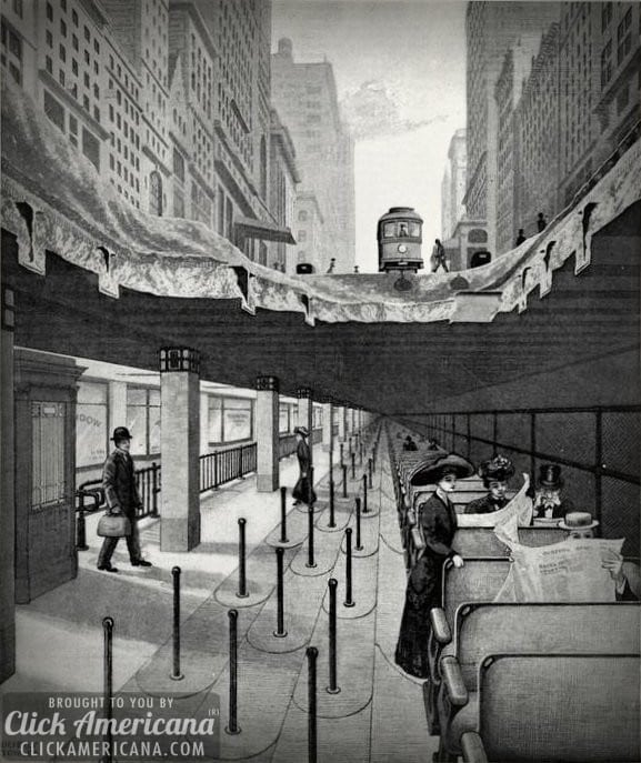 Idea for NYC: Rapid transit by belt conveyor (1910)
