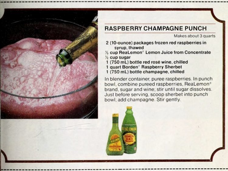 Raspberry champagne punch retro recipe card (1989)