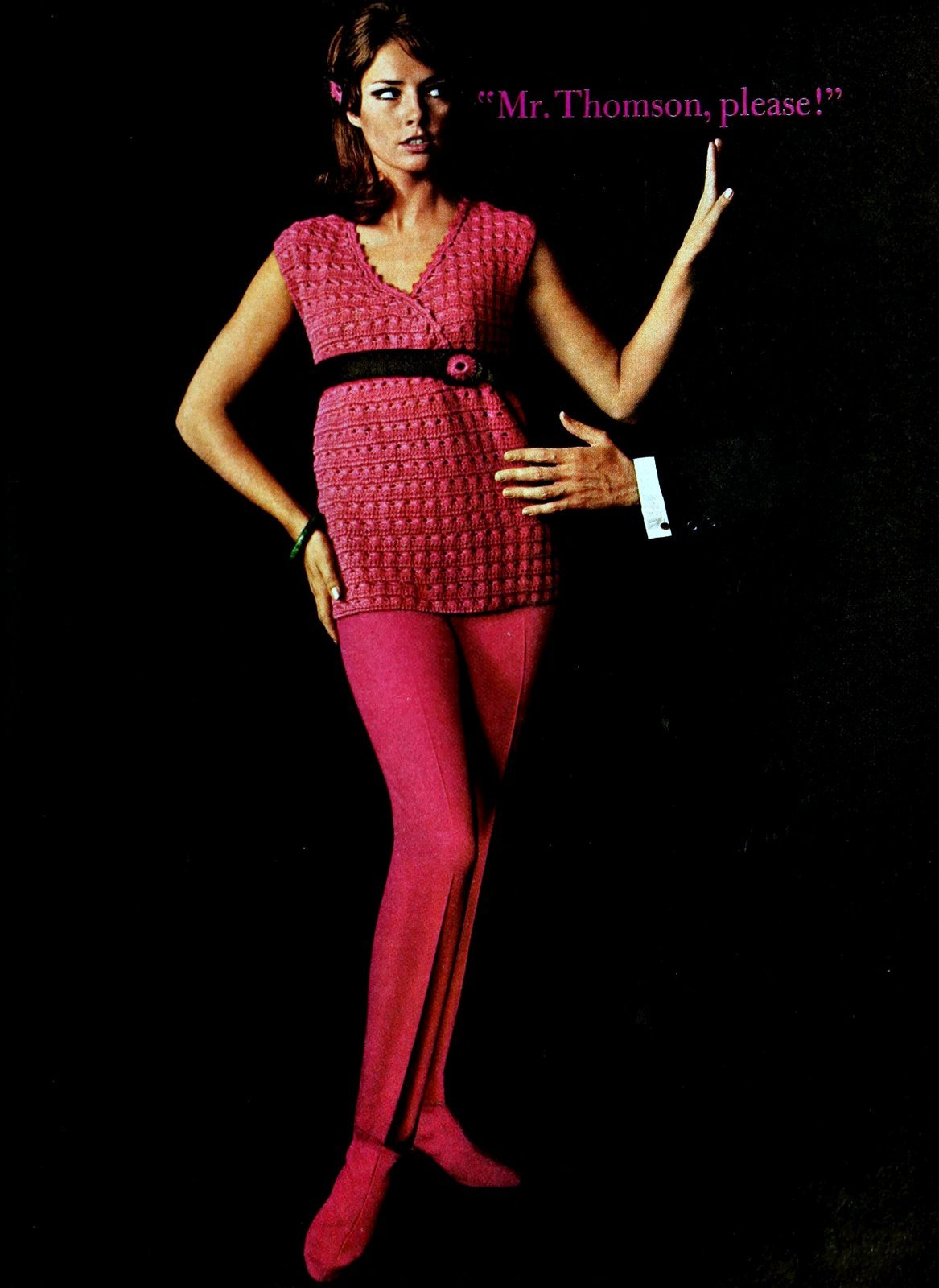 Raspberry pink sweater with matching leggings (1965)