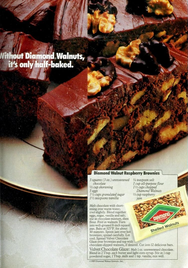 Raspberry-walnut brownies retro recipe 1989