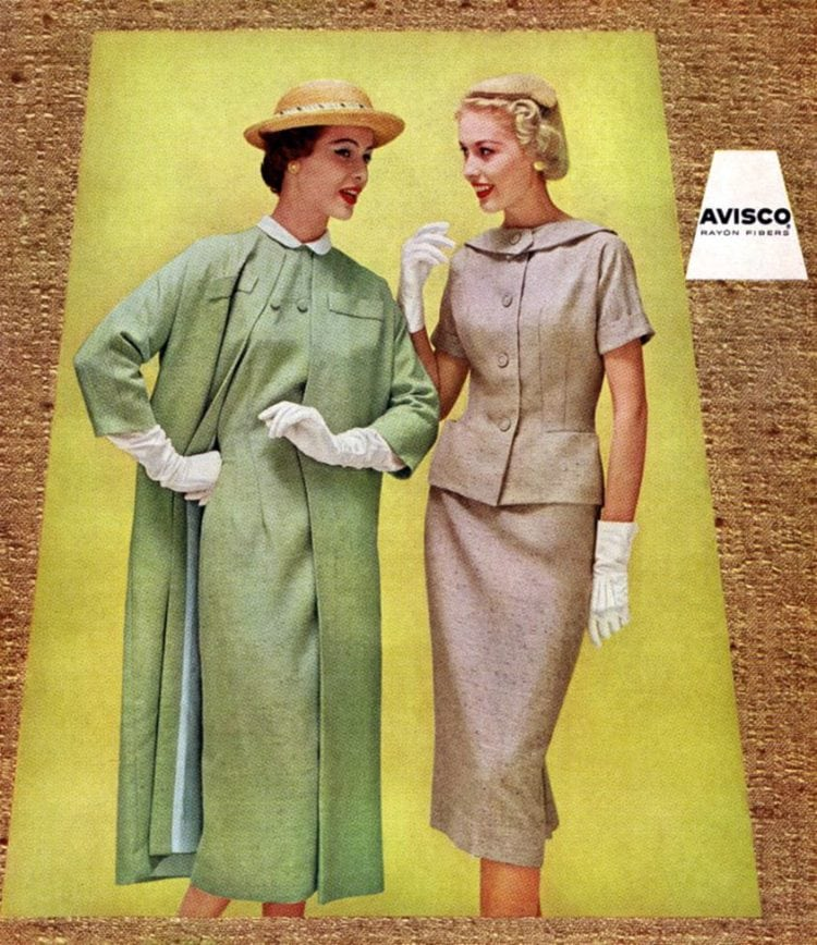 Rayon suits for women from 1957