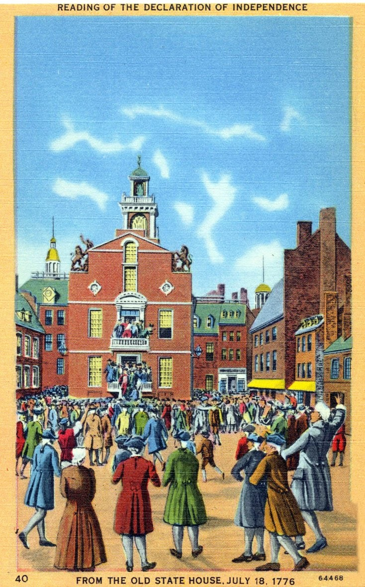 Reading of the Declaration of Independence from the Old State House, July 18, 1776 - 1940s postcard