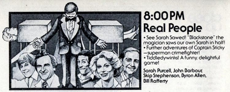 Real People promo in TV guide - 1980