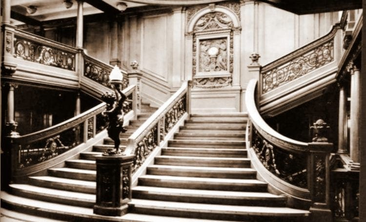 The grand staircase inside the Titanic
