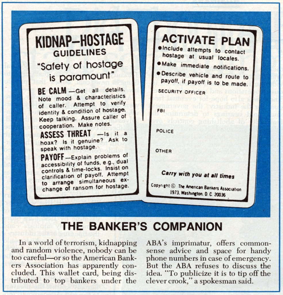 Real kidnap-hostage guidelines for banks in the 1970s