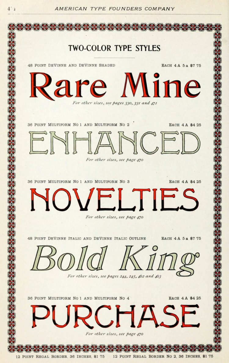 Real vintage typefaces and type styles