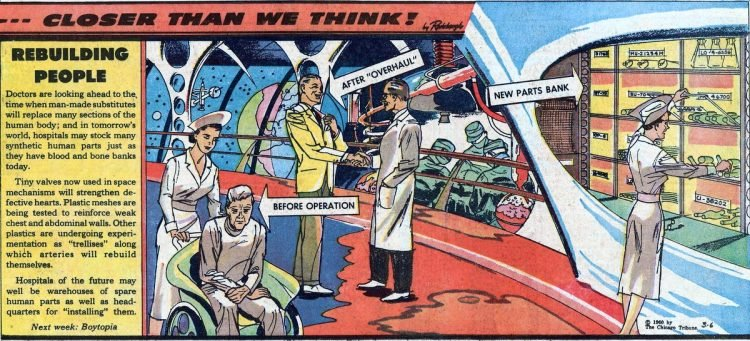 Rebuilding people- Futuristic vintage cartoon