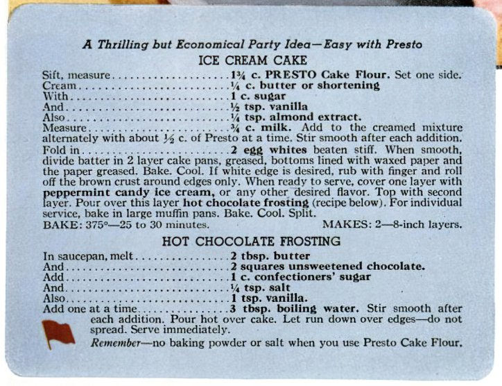 Recipe card for Ice cream cake with hot chocolate frosting (1941)