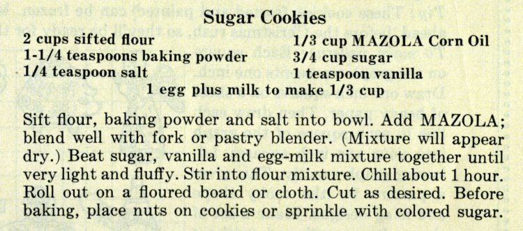 Recipe for easy sugar cookies made with vegetable oil