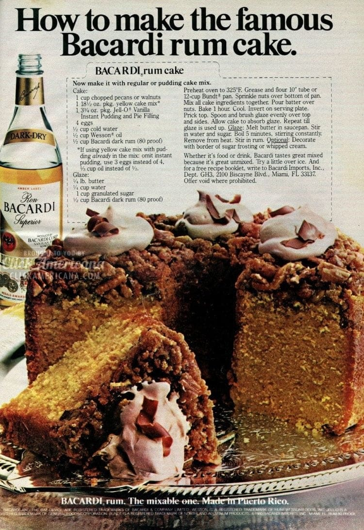 How to make the famous Bacardi rum cake (1982)