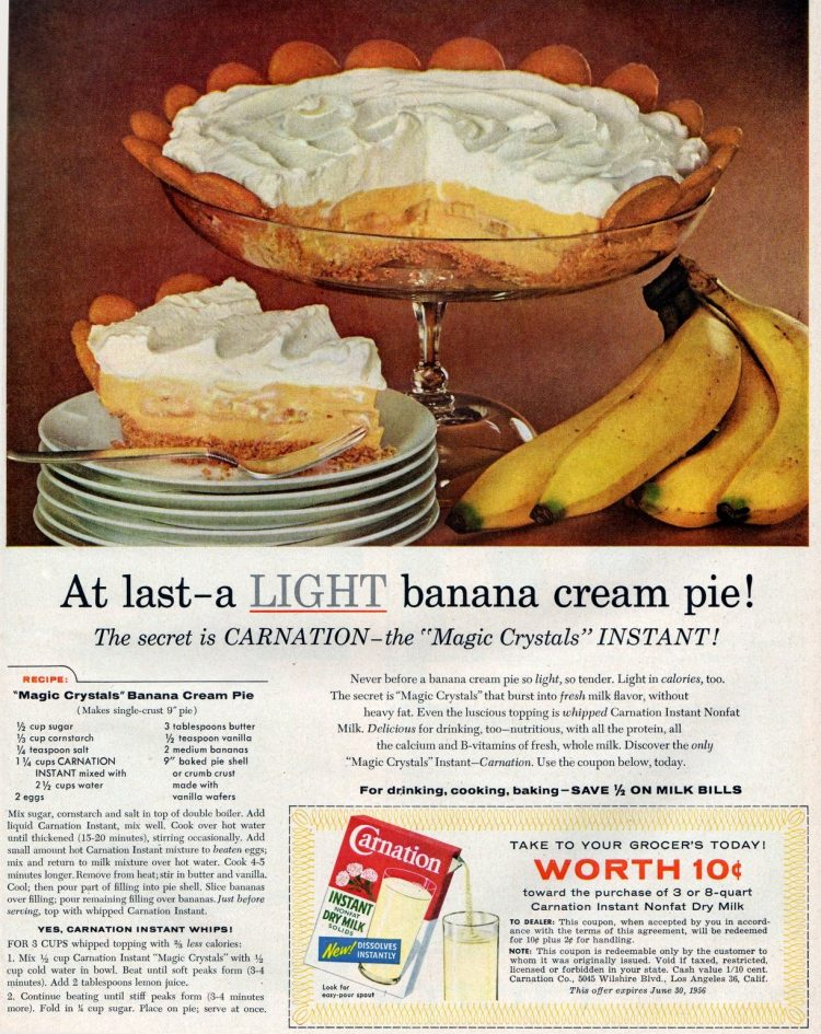 Recipe for old-fashioned magic crystals banana cream pie (1956)