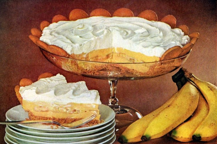 Recipe for old-fashioned magic crystals banana cream pie (1957)