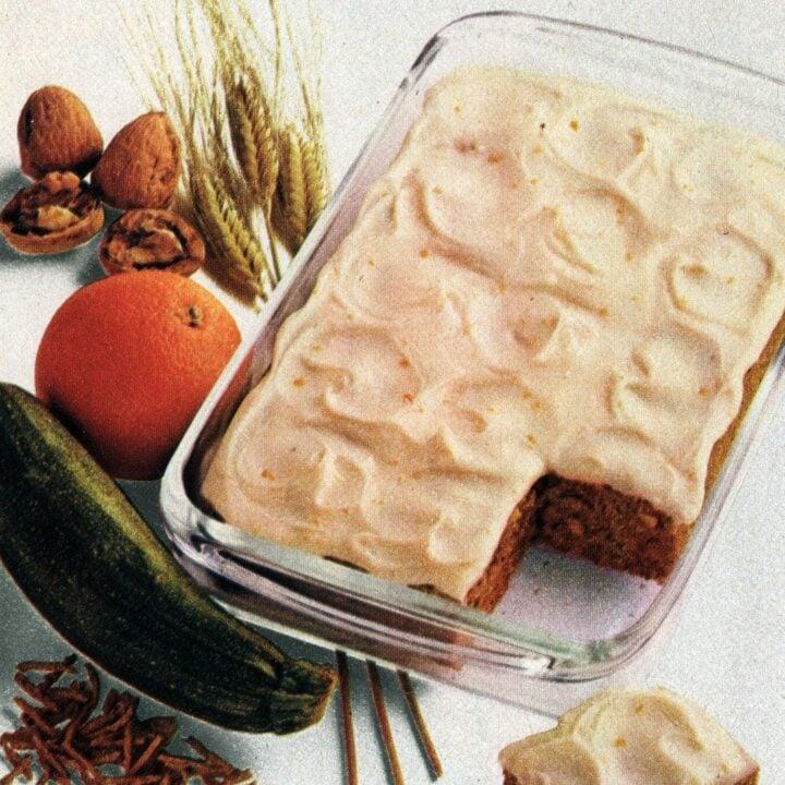 Recipe for orange zucchini cake & with orange-cream cheese frosting (1982)