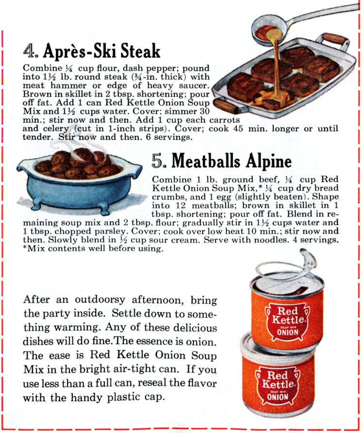 Recipes to make with dry onion soup mix - 1965