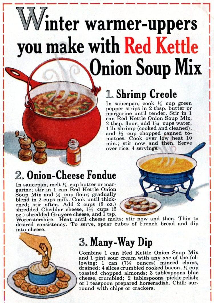 Recipes to make with onion soup mix - 1965