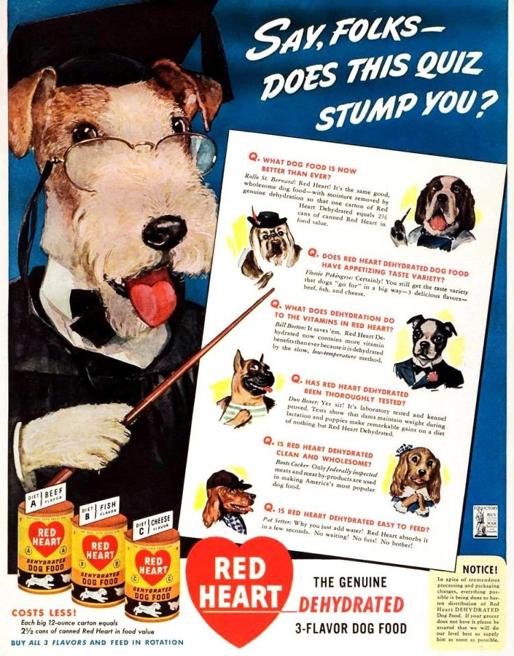 Red Heart vintage dog food from the 1940s