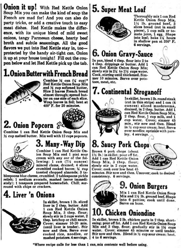 Red Kettle Onion Soup Mix recipes from 1964