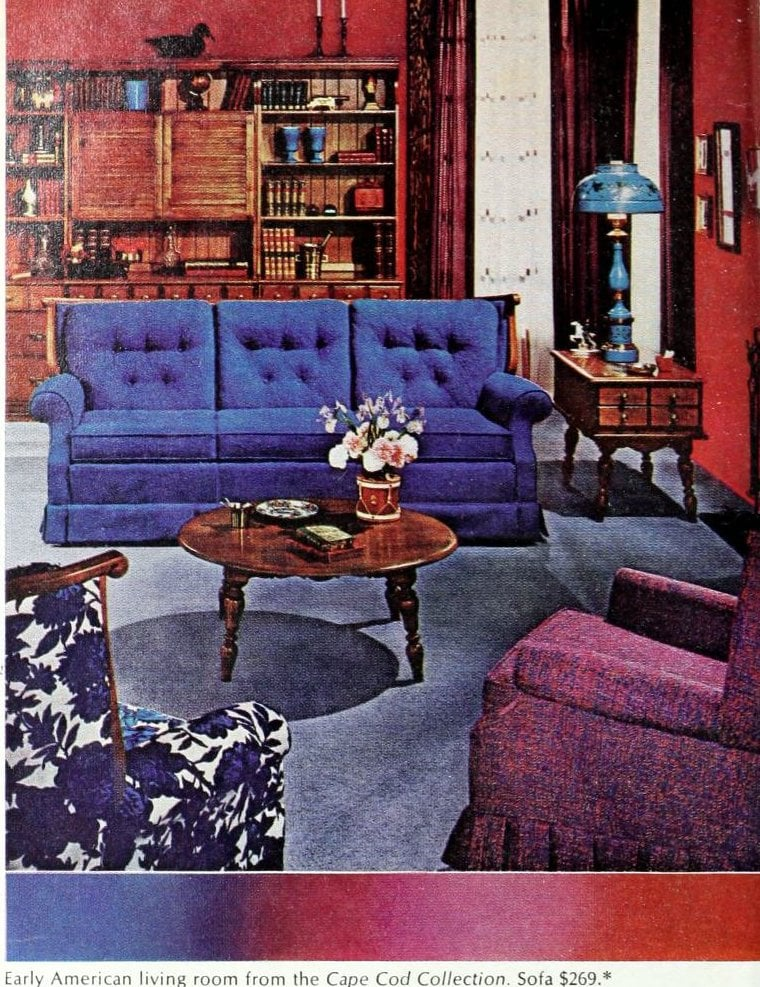 Red and blue Early-American themed living room in 1966