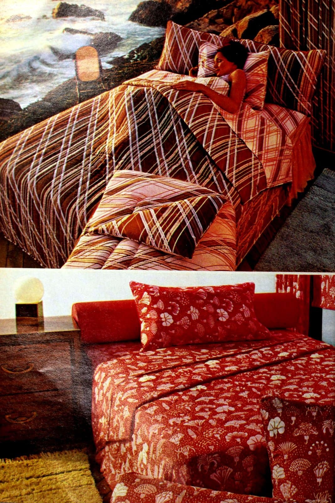 Red and brown retro bedding sets from the late seventies