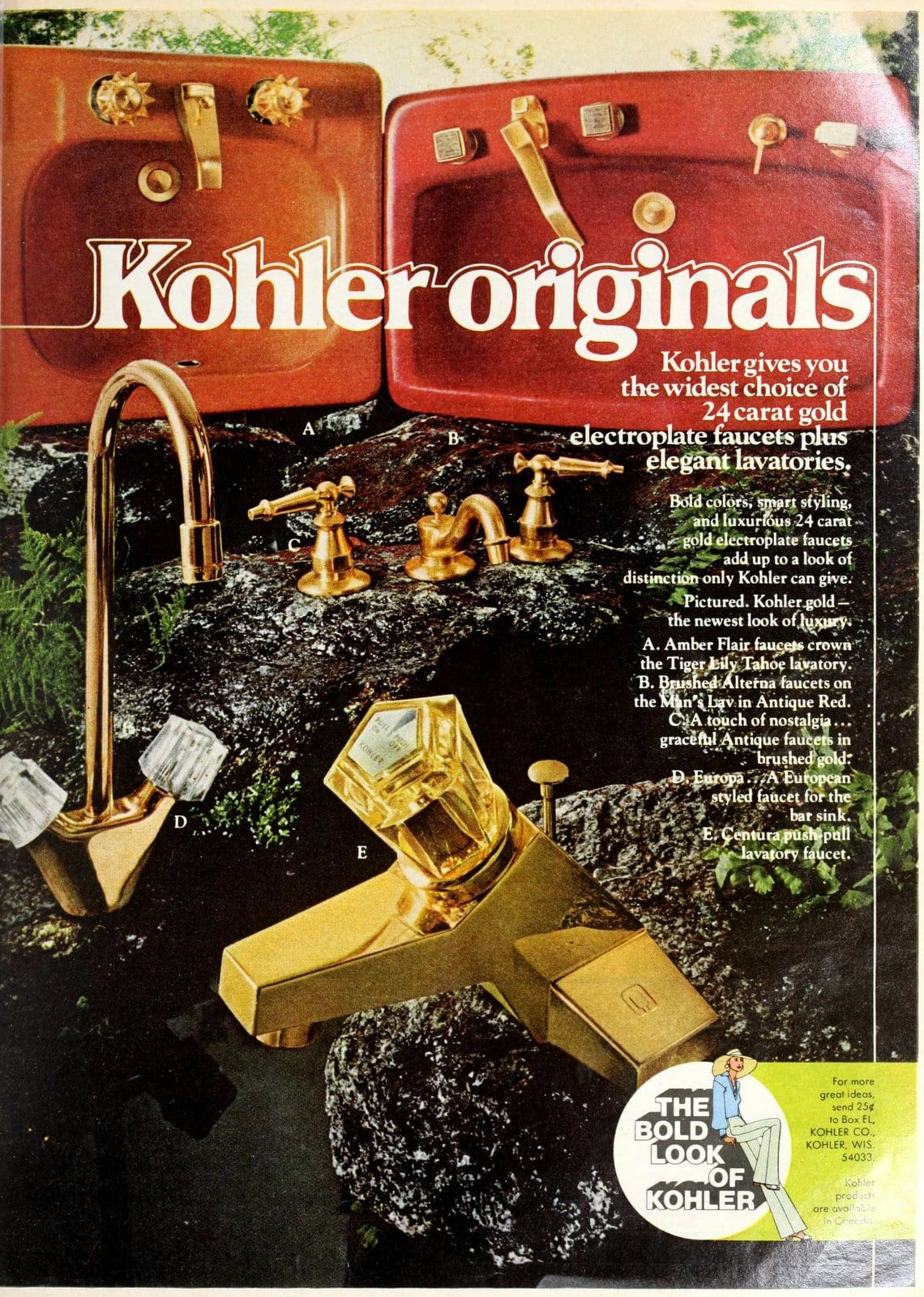 Red and orange bathroom sinks and gold faucets (1975)