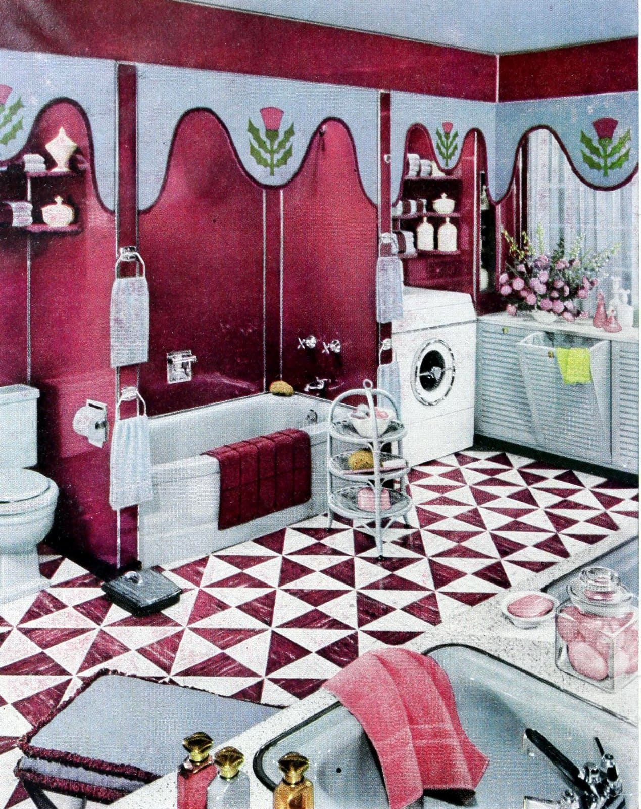Red and white triangle square retro fifties flooring style for a bathroom