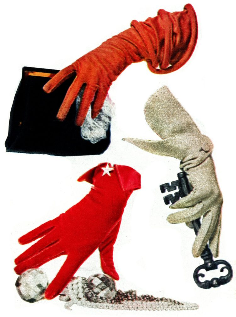 Red and white stylish '50s gloves