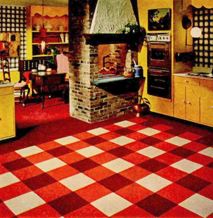 Red checked kitchen carpet from 1967