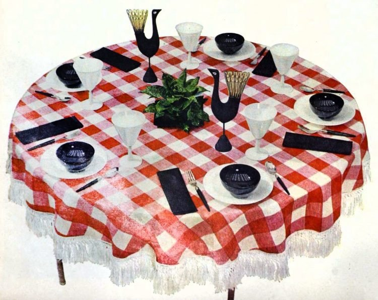 Red checked tablecloth base