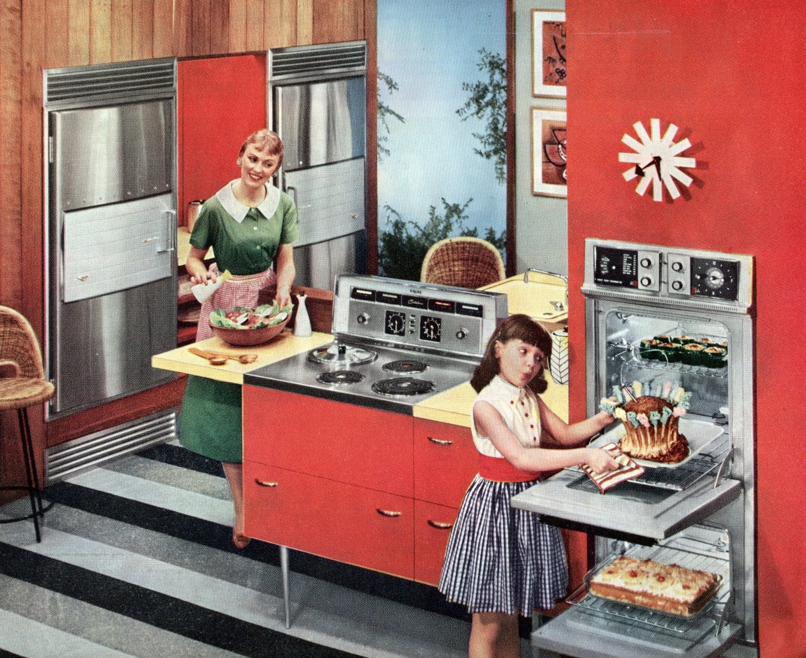 Red kitchen - Colorful vintage 1950s home decor