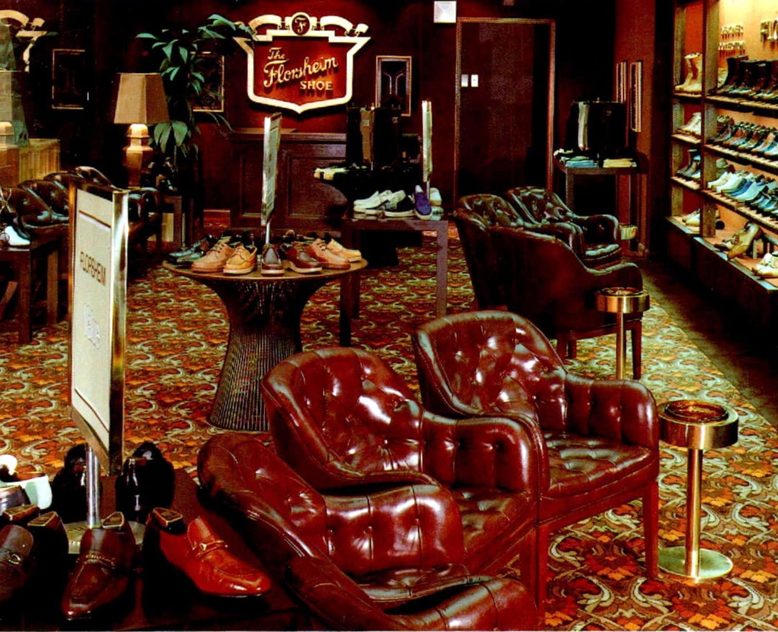 Red leather chairs in vintage Florsheim shoes men's department (1978)