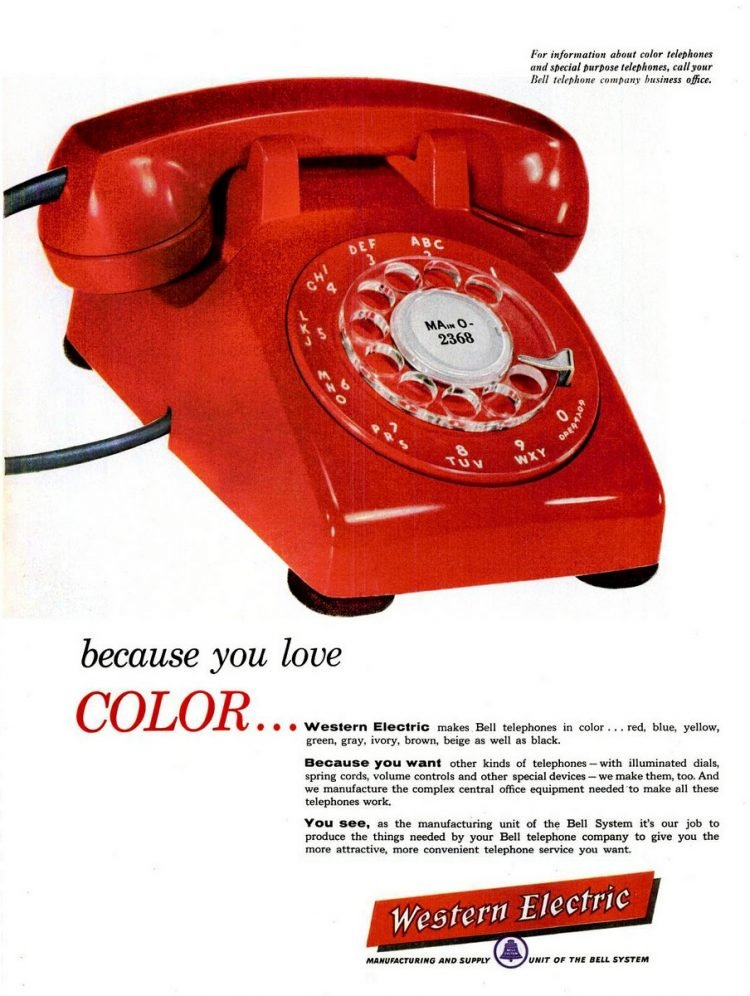 Red phones from 1955 - Because you love color