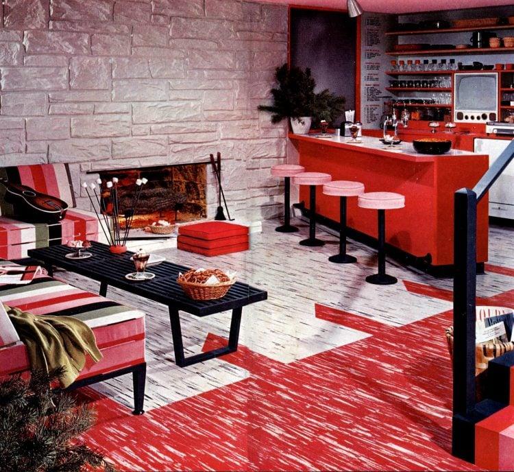 Red pink and black vintage kitchen design 1958
