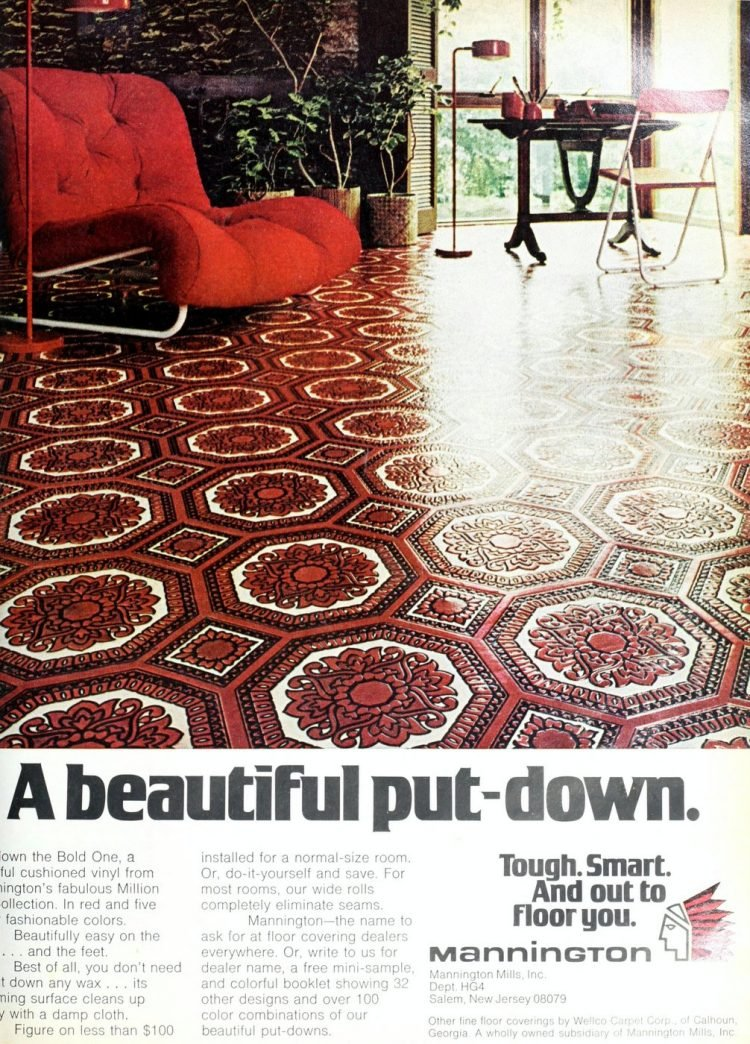 Red vinyl flooring from 1973