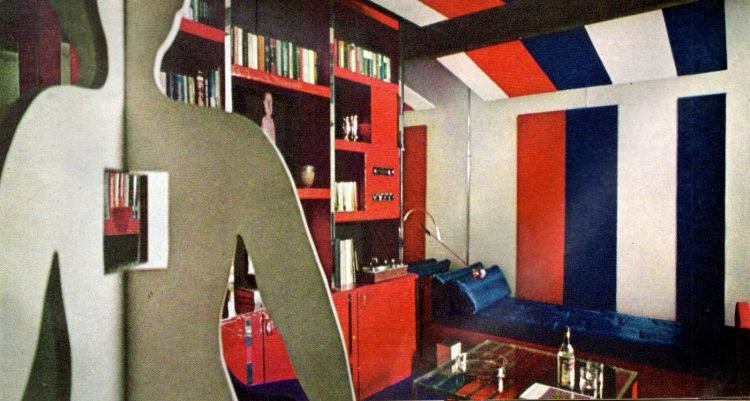 Red white and blue bedroom decor inspiration from the sixties