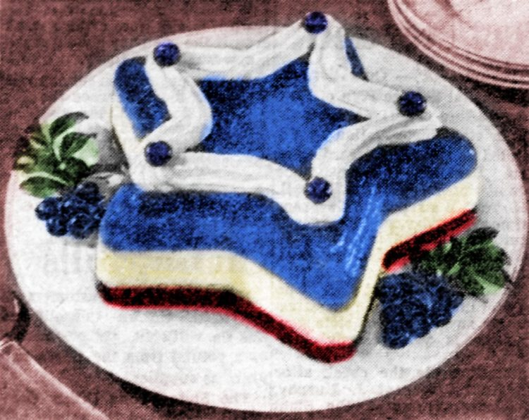 Red, white and blueberry dessert (1955)