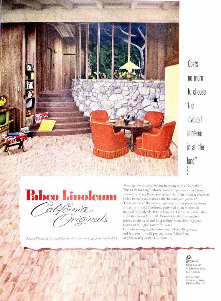 Redwood linoleum pattern - 1953