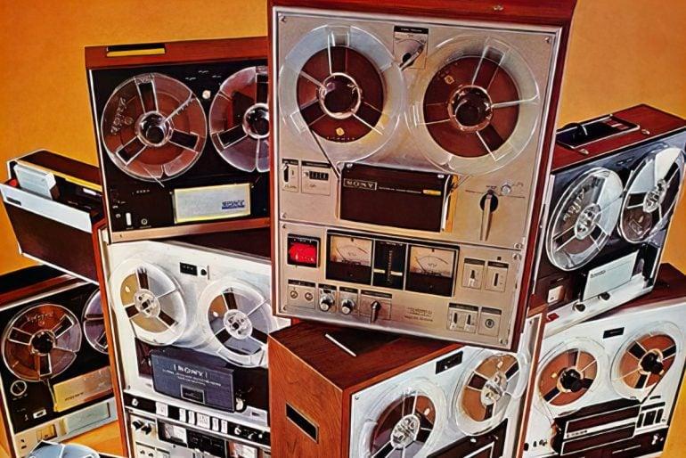 Reel-to-reel vintage tape recorders