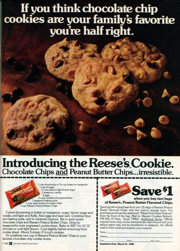 Reeses cookies Peanut butter chips and chocolate chips vintage recipe (1982)