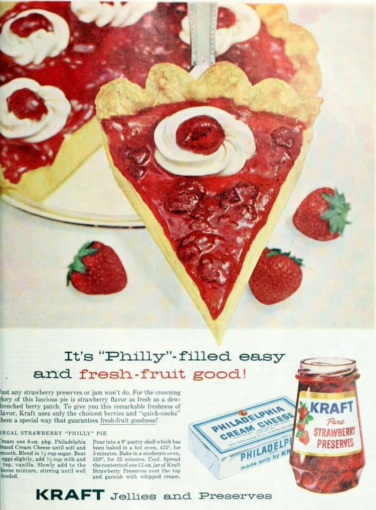 Regal strawberry Philly pie vintage recipe (1959)