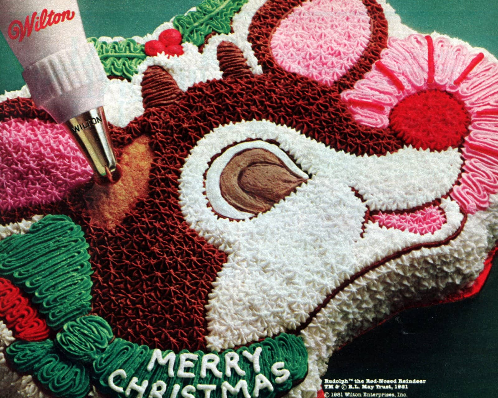 Reindeer cake with vintage WIlton frosting decorating tip (1981)